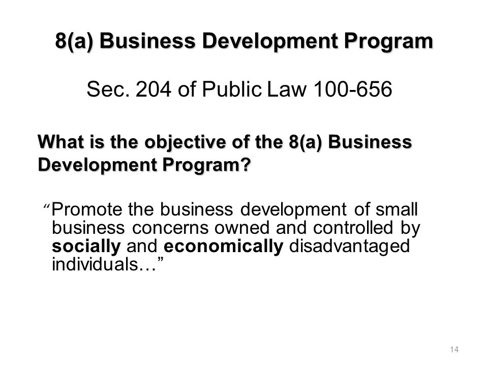What is the objective of the 8(a) Business Development Program.
