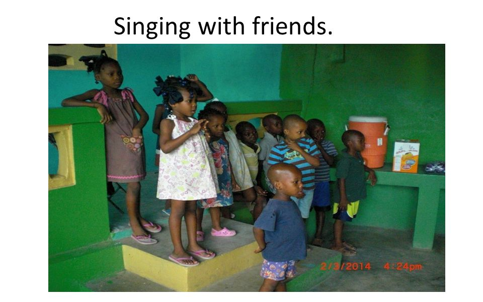Singing with friends.