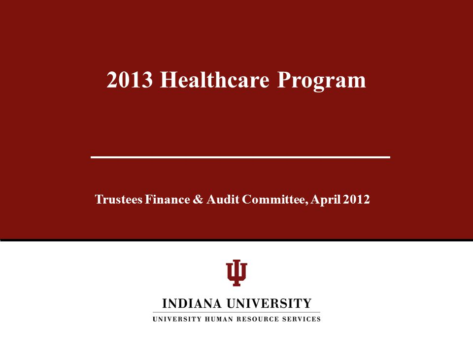 Trustees Finance & Audit Committee, April 2012 2013 Healthcare Program