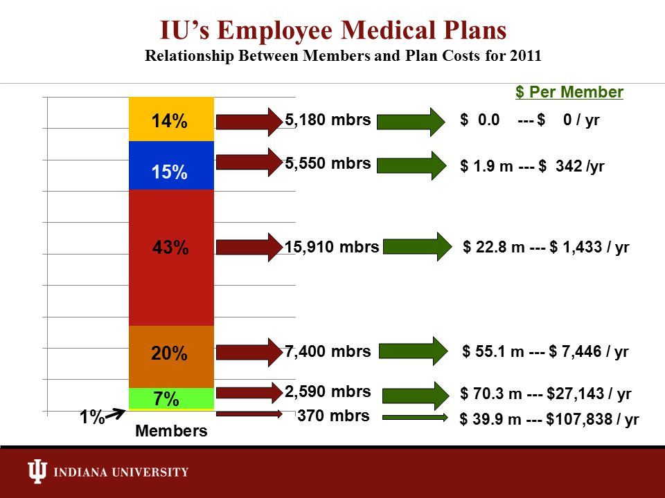 Relationship Between Members and Plan Costs for 2011 IU's Employee Medical Plans 29% 7% 20% 43% 15% 1% 14% 5,180 mbrs 15,910 mbrs 7,400 mbrs 2,590 mbr