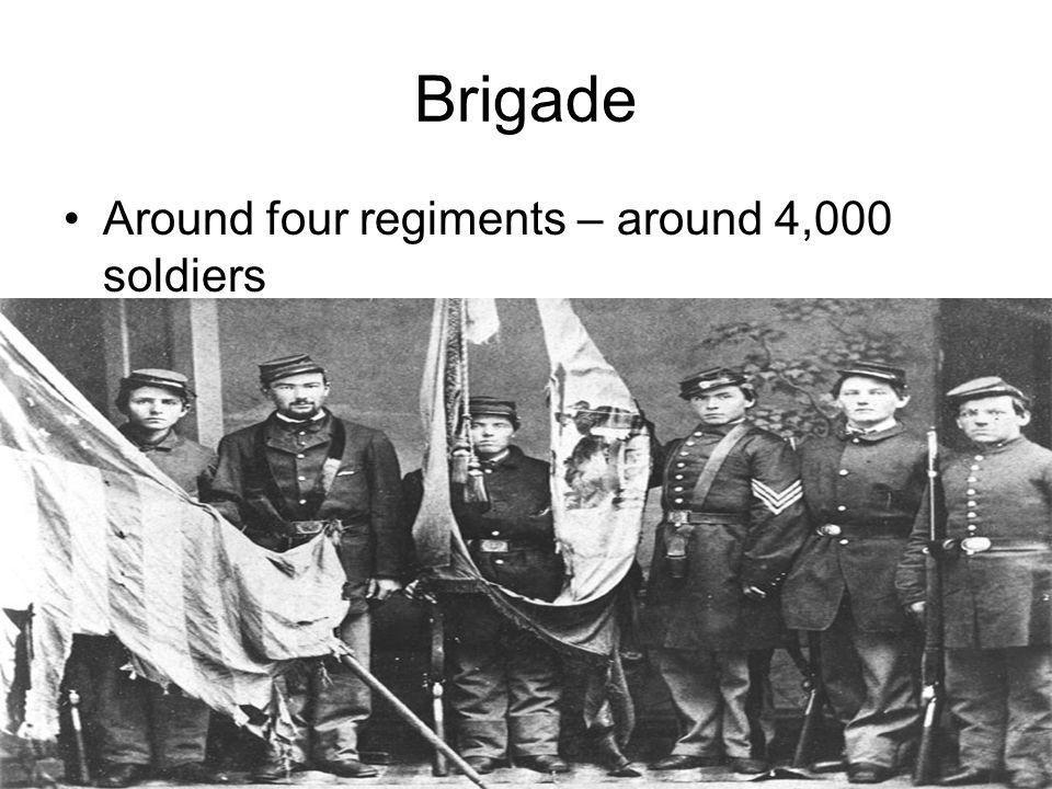 Brigade Around four regiments – around 4,000 soldiers