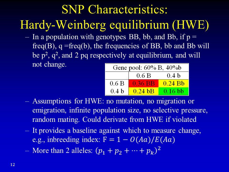 12 SNP Characteristics: Hardy-Weinberg equilibrium (HWE)