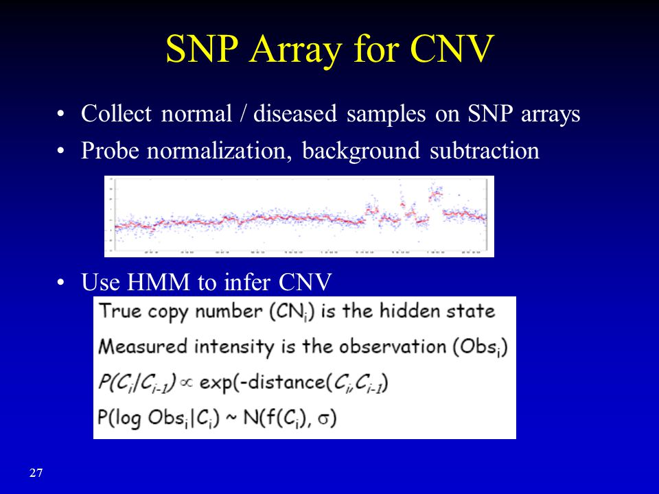 27 SNP Array for CNV Collect normal / diseased samples on SNP arrays Probe normalization, background subtraction Use HMM to infer CNV