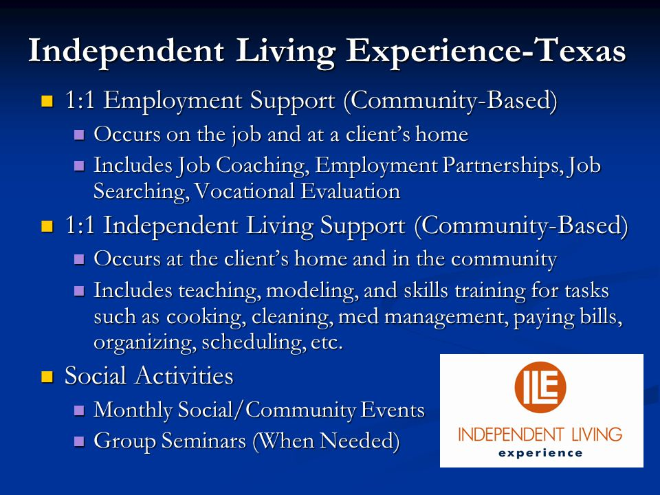 1:1 Employment Support (Community-Based) 1:1 Employment Support (Community-Based) Occurs on the job and at a client's home Occurs on the job and at a