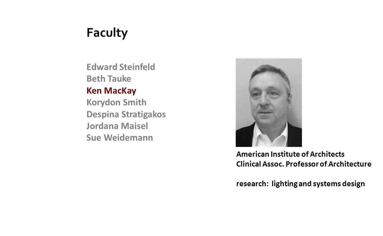 Edward Steinfeld Beth Tauke Ken MacKay Korydon Smith Despina Stratigakos Jordana Maisel Sue Weidemann Faculty American Institute of Architects Clinical Assoc.