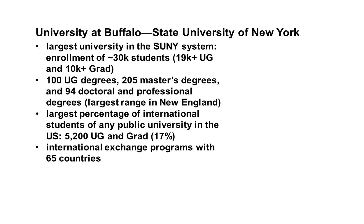largest university in the SUNY system: enrollment of ~30k students (19k+ UG and 10k+ Grad) 100 UG degrees, 205 master's degrees, and 94 doctoral and professional degrees (largest range in New England) largest percentage of international students of any public university in the US: 5,200 UG and Grad (17%) international exchange programs with 65 countries University at Buffalo—State University of New York