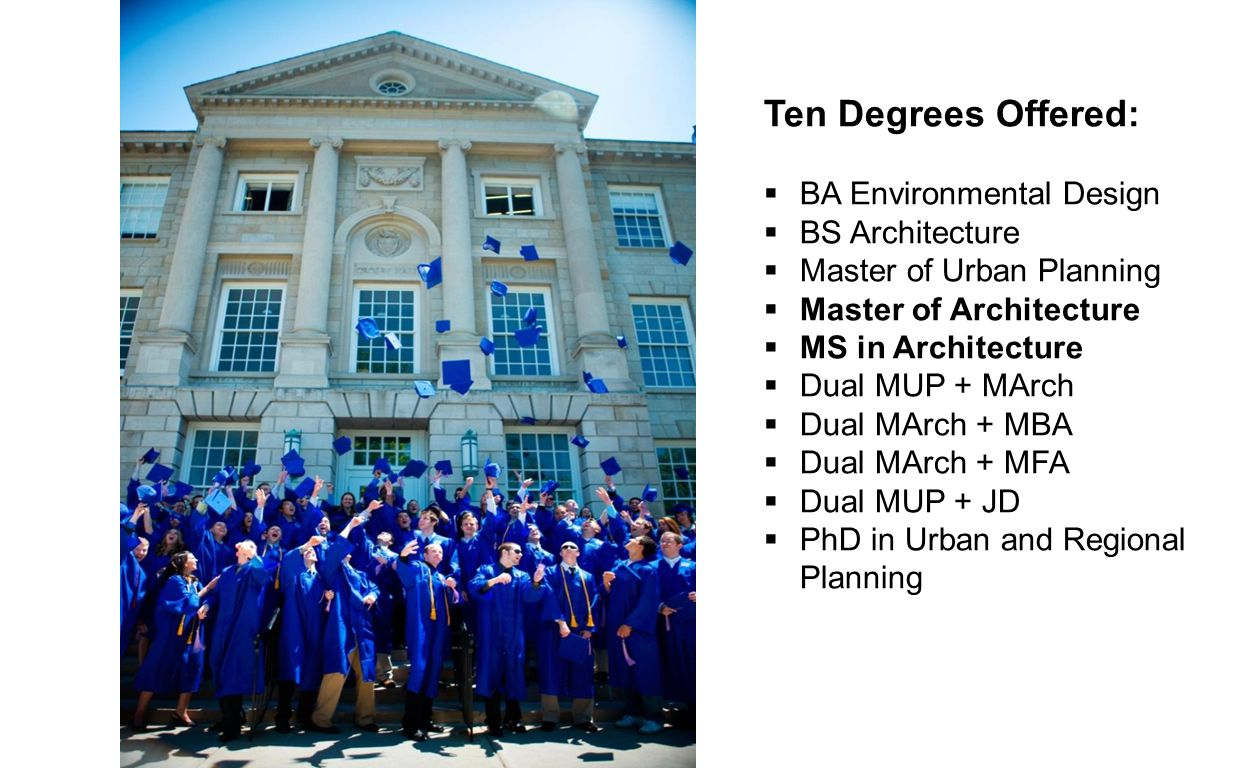 Ten Degrees Offered:  BA Environmental Design  BS Architecture  Master of Urban Planning  Master of Architecture  MS in Architecture  Dual MUP + MArch  Dual MArch + MBA  Dual MArch + MFA  Dual MUP + JD  PhD in Urban and Regional Planning