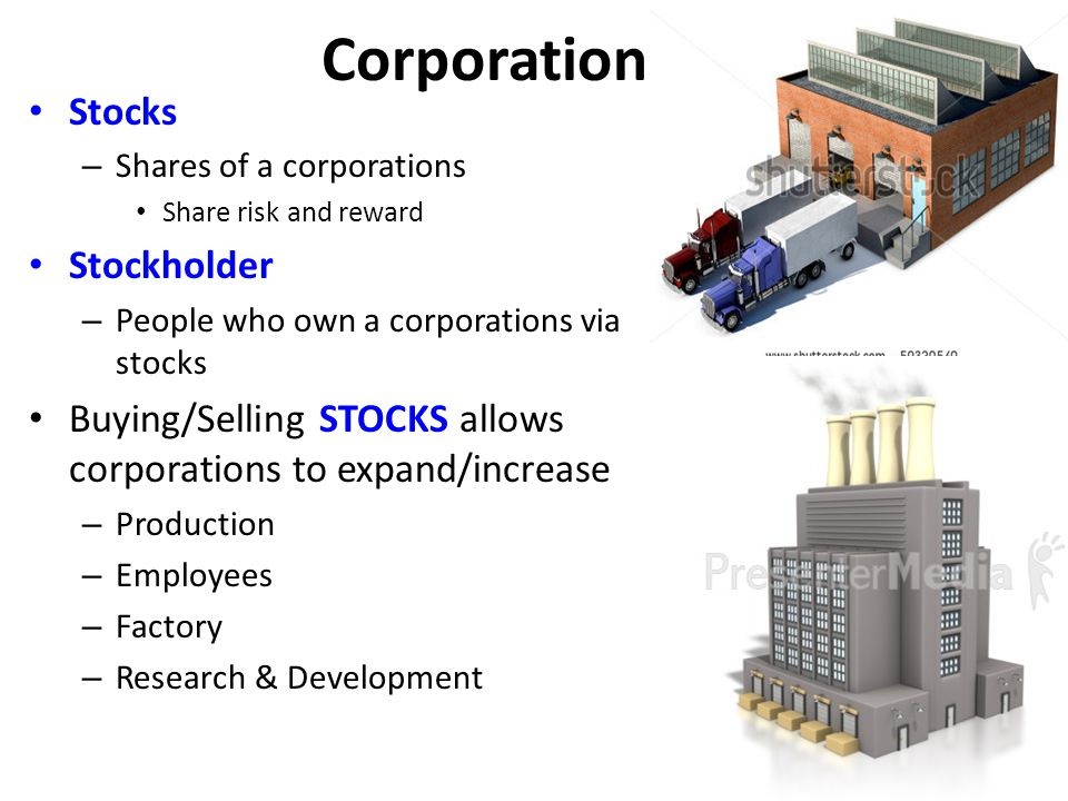Corporations Stocks – Shares of a corporations Share risk and reward Stockholder – People who own a corporations via stocks Buying/Selling STOCKS allo