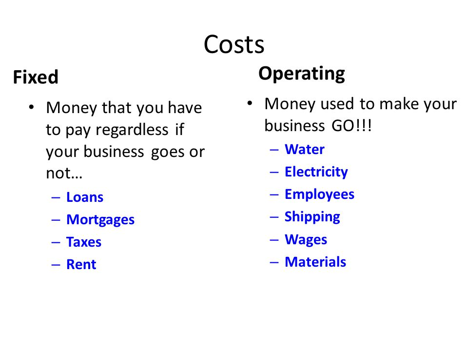 Costs Fixed Money that you have to pay regardless if your business goes or not… – Loans – Mortgages – Taxes – Rent Operating Money used to make your b