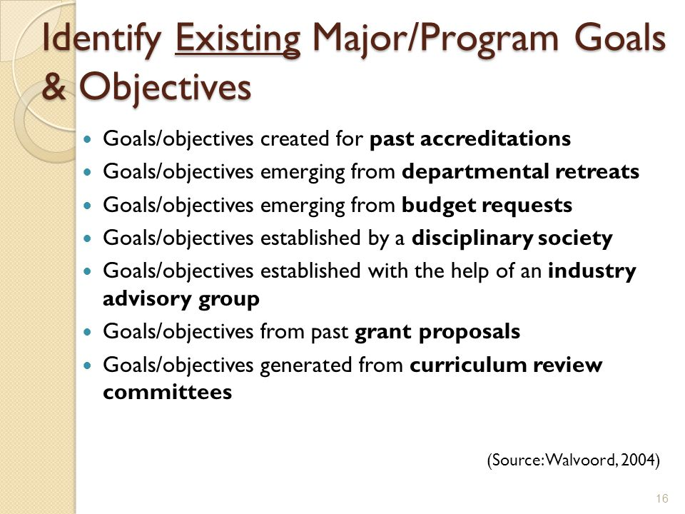 Identify Existing Major/Program Goals & Objectives Goals/objectives created for past accreditations Goals/objectives emerging from departmental retreats Goals/objectives emerging from budget requests Goals/objectives established by a disciplinary society Goals/objectives established with the help of an industry advisory group Goals/objectives from past grant proposals Goals/objectives generated from curriculum review committees (Source: Walvoord, 2004) 16