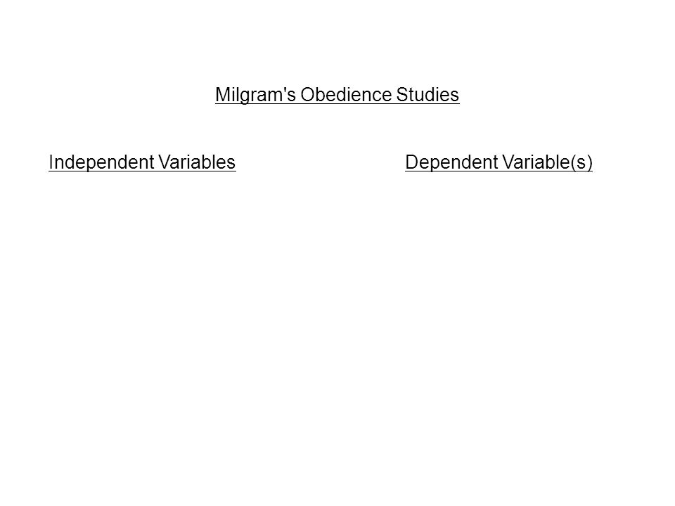 Milgram s Obedience Studies Independent Variables Dependent Variable(s)