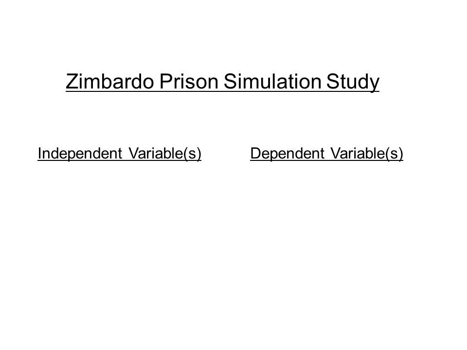 Zimbardo Prison Simulation Study Independent Variable(s) Dependent Variable(s)