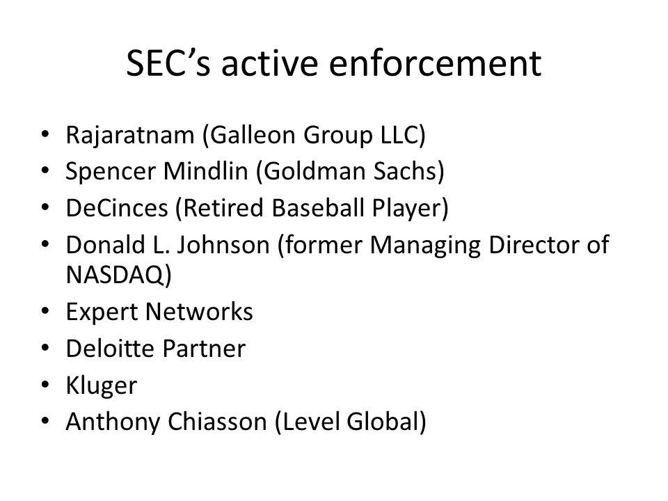 SEC's active enforcement Rajaratnam (Galleon Group LLC) Spencer Mindlin (Goldman Sachs) DeCinces (Retired Baseball Player) Donald L. Johnson (former M