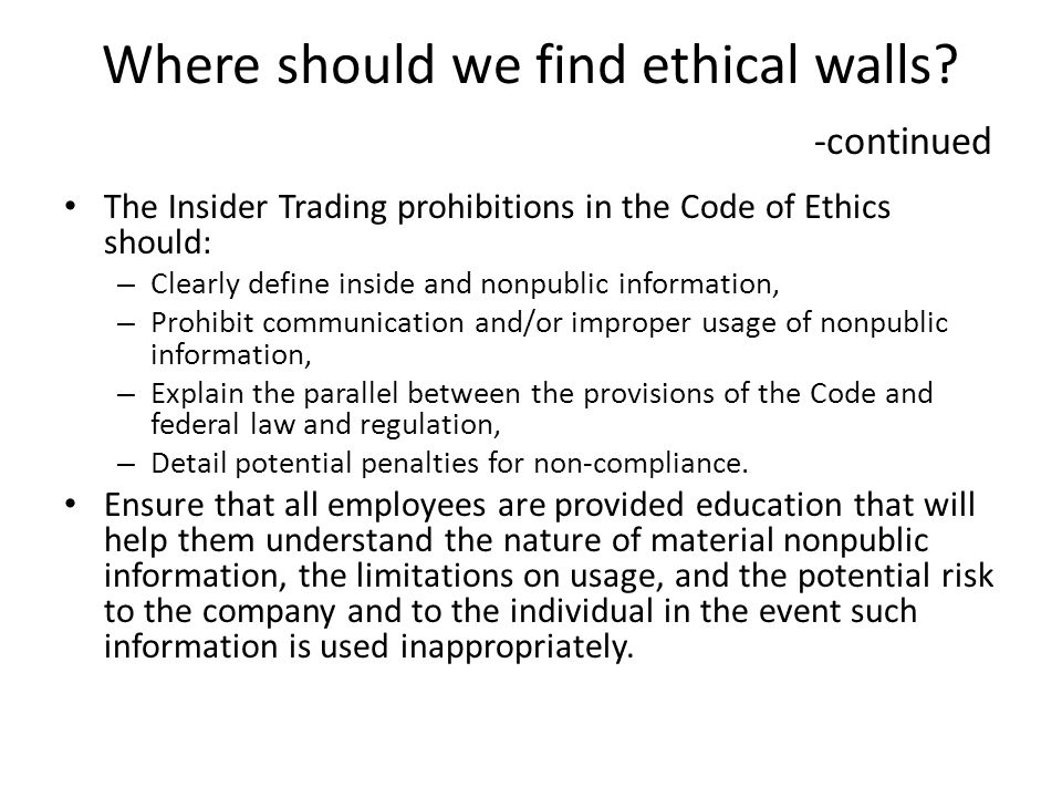Where should we find ethical walls.