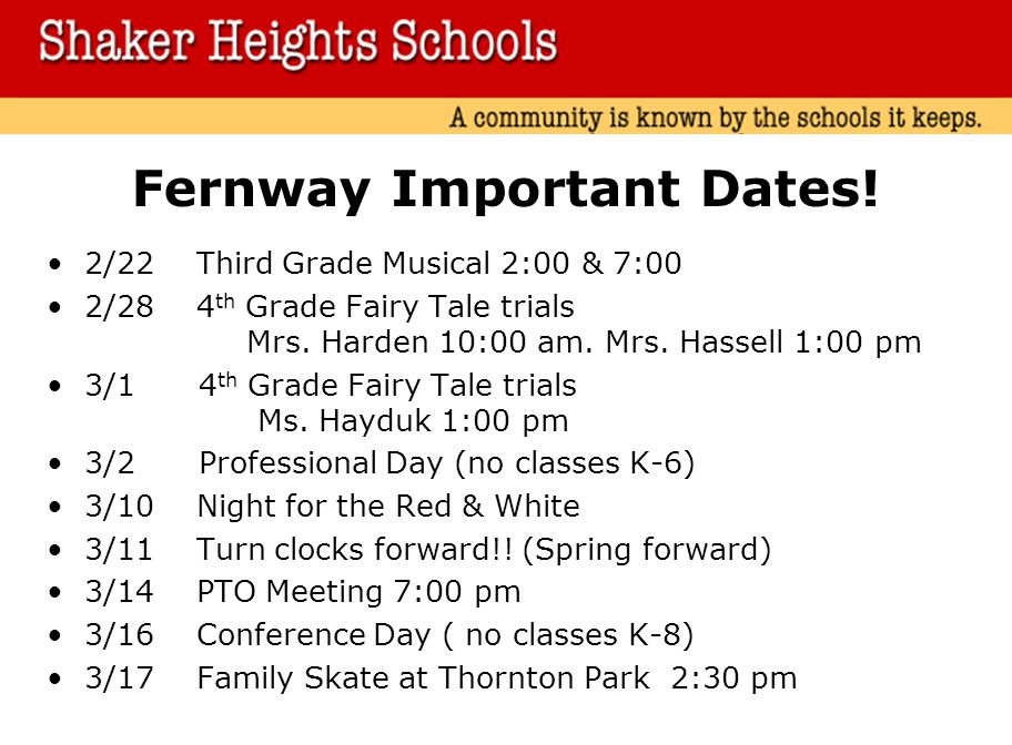 Fernway Important Dates.