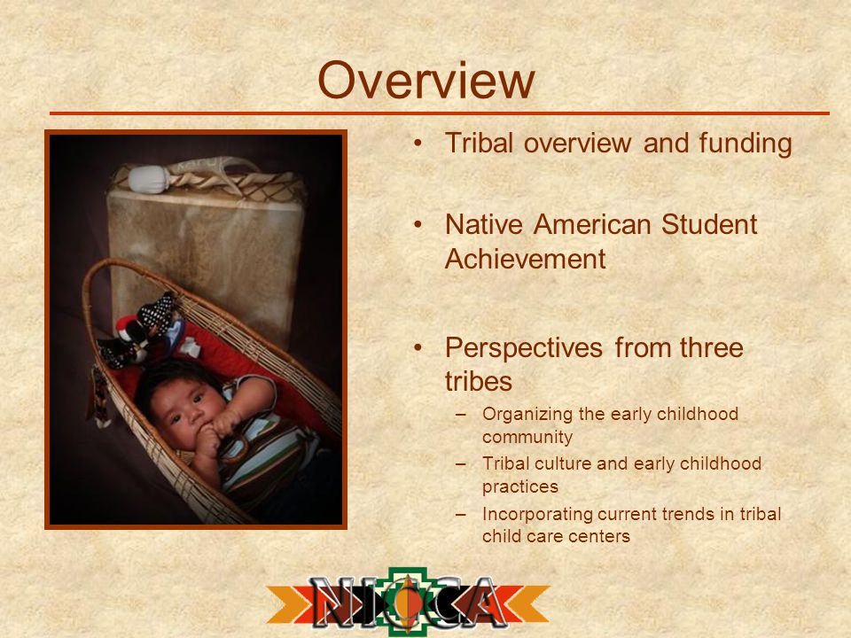 Overview Tribal overview and funding Native American Student Achievement Perspectives from three tribes –Organizing the early childhood community –Tribal culture and early childhood practices –Incorporating current trends in tribal child care centers