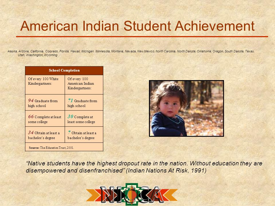 American Indian Student Achievement Alaska, Arizona, California, Colorado, Florida, Hawaii, Michigan.