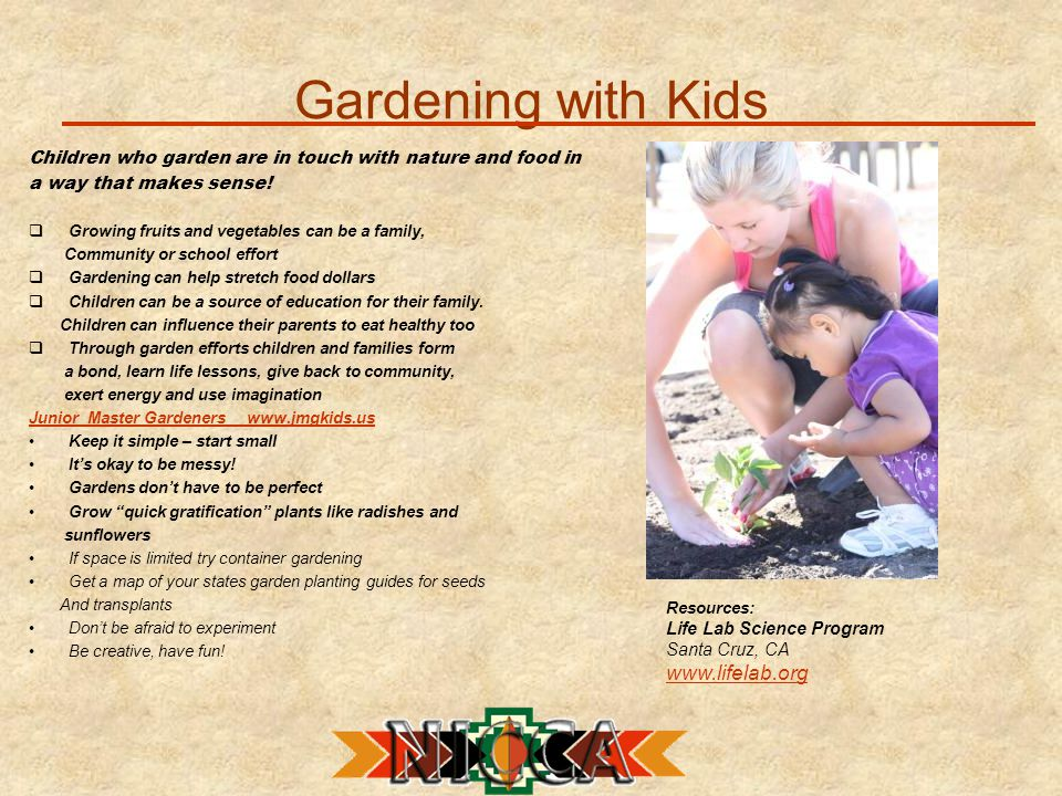 Gardening with Kids Children who garden are in touch with nature and food in a way that makes sense.