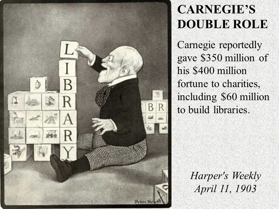 CARNEGIE'S DOUBLE ROLE Carnegie reportedly gave $350 million of his $400 million fortune to charities, including $60 million to build libraries.