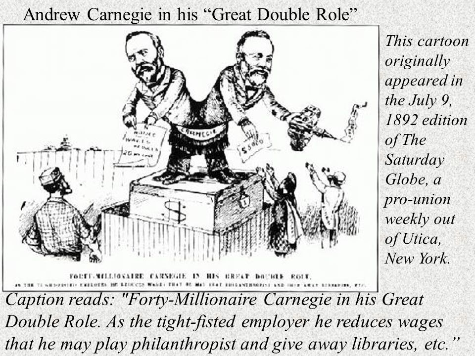 Caption reads: Forty-Millionaire Carnegie in his Great Double Role.