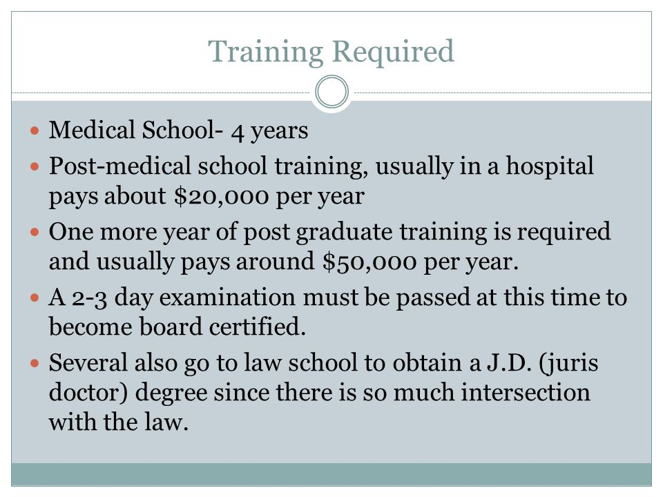 Training Required Medical School- 4 years Post-medical school training, usually in a hospital pays about $20,000 per year One more year of post gradua