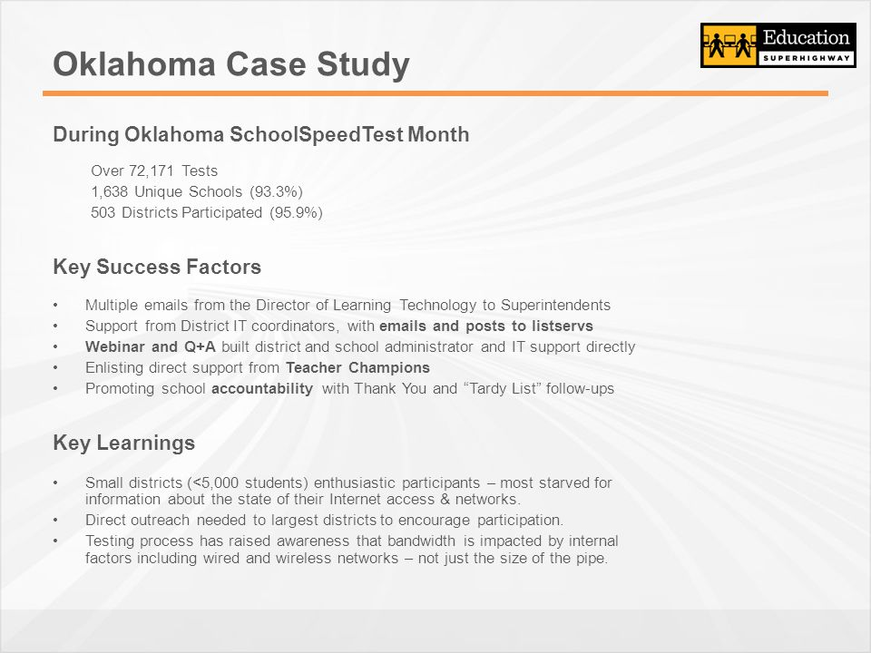 Oklahoma Case Study During Oklahoma SchoolSpeedTest Month Over 72,171 Tests 1,638 Unique Schools (93.3%) 503 Districts Participated (95.9%) Key Success Factors Multiple emails from the Director of Learning Technology to Superintendents Support from District IT coordinators, with emails and posts to listservs Webinar and Q+A built district and school administrator and IT support directly Enlisting direct support from Teacher Champions Promoting school accountability with Thank You and Tardy List follow-ups Key Learnings Small districts (<5,000 students) enthusiastic participants – most starved for information about the state of their Internet access & networks.