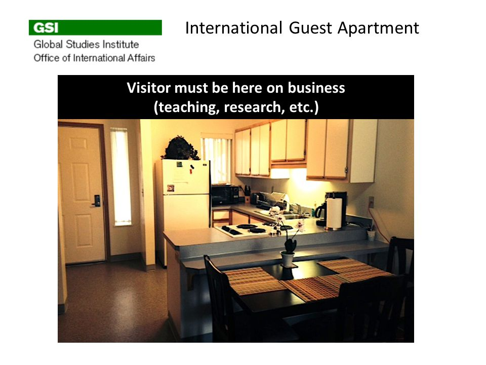 International Guest Apartment Visitor must be here on business (teaching, research, etc.)