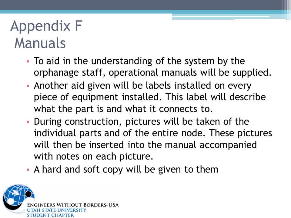 Appendix F Manuals To aid in the understanding of the system by the orphanage staff, operational manuals will be supplied.