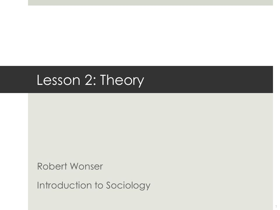Lesson 2: Theory Robert Wonser Introduction to Sociology 1