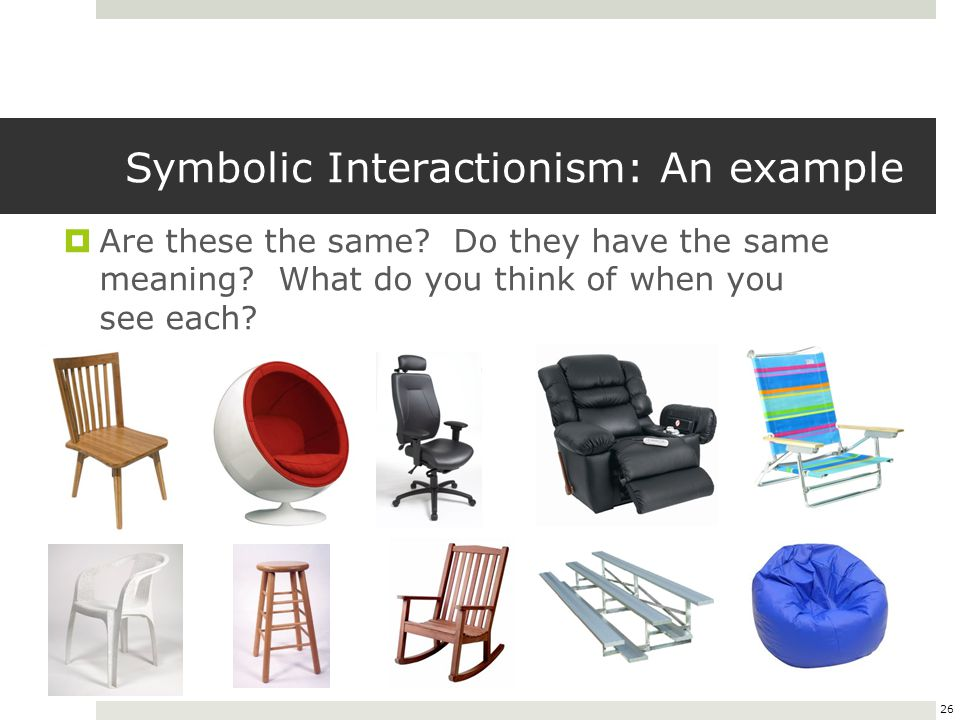 26 Symbolic Interactionism: An example  Are these the same.