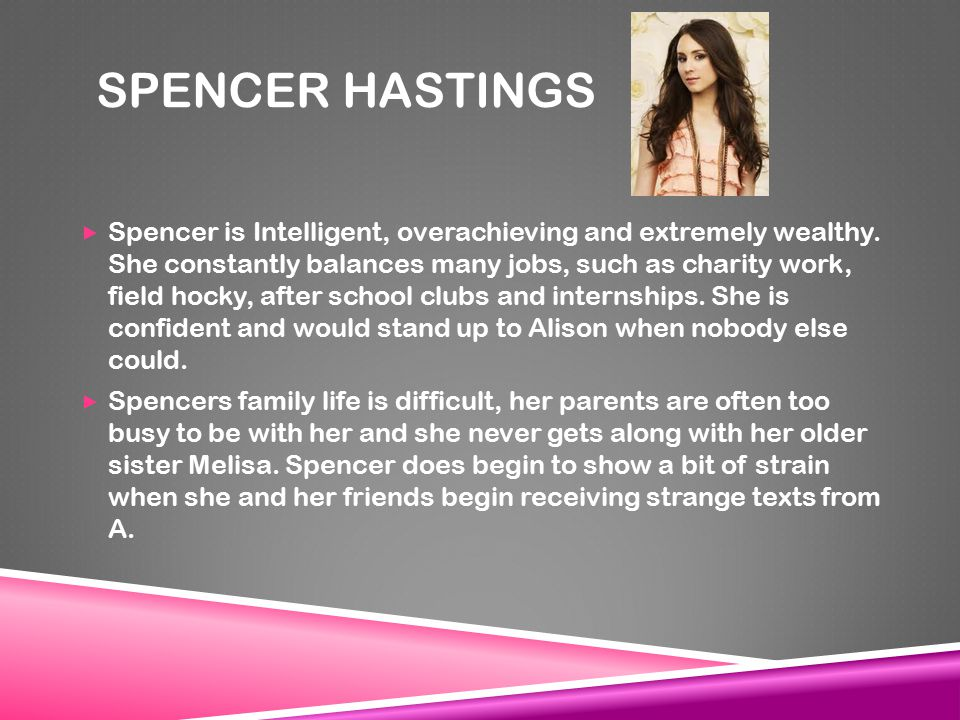 SPENCER HASTINGS  Spencer is Intelligent, overachieving and extremely wealthy.