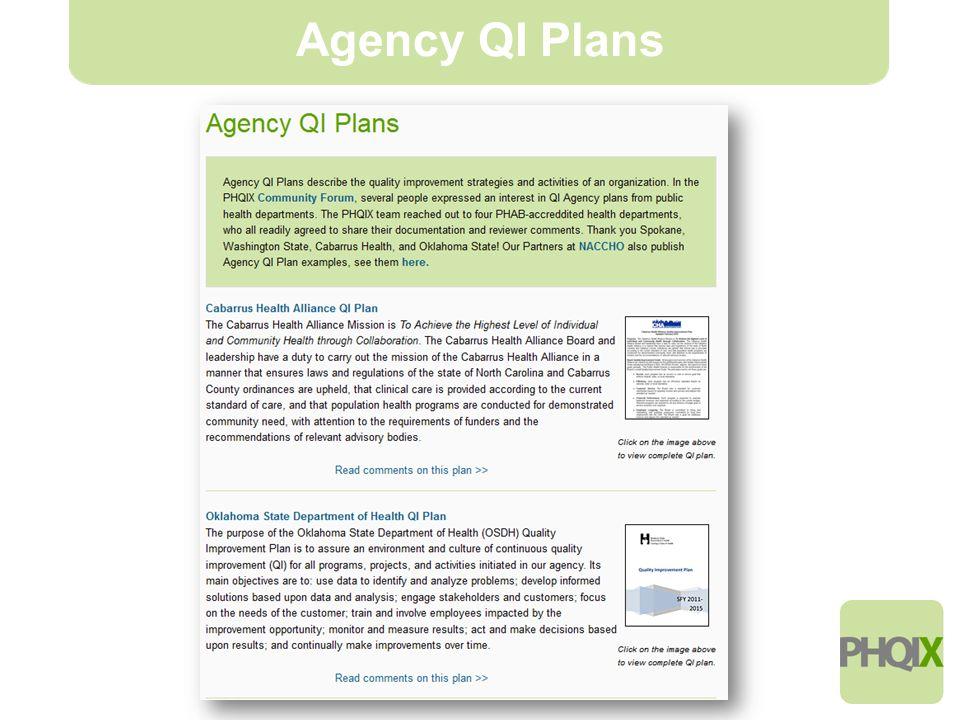 6 Agency QI Plans