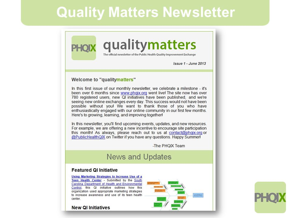 7 Quality Matters Newsletter