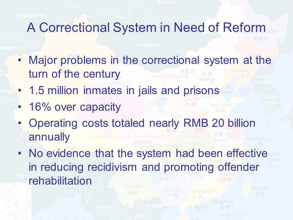 A Correctional System in Need of Reform Major problems in the correctional system at the turn of the century 1.5 million inmates in jails and prisons