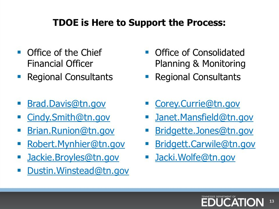 TDOE is Here to Support the Process:  Office of the Chief Financial Officer  Regional Consultants  Brad.Davis@tn.gov Brad.Davis@tn.gov  Cindy.Smith@tn.gov Cindy.Smith@tn.gov  Brian.Runion@tn.gov Brian.Runion@tn.gov  Robert.Mynhier@tn.gov Robert.Mynhier@tn.gov  Jackie.Broyles@tn.gov Jackie.Broyles@tn.gov  Dustin.Winstead@tn.gov Dustin.Winstead@tn.gov  Office of Consolidated Planning & Monitoring  Regional Consultants  Corey.Currie@tn.gov Corey.Currie@tn.gov  Janet.Mansfield@tn.gov Janet.Mansfield@tn.gov  Bridgette.Jones@tn.gov Bridgette.Jones@tn.gov  Bridgett.Carwile@tn.gov Bridgett.Carwile@tn.gov  Jacki.Wolfe@tn.gov Jacki.Wolfe@tn.gov 13
