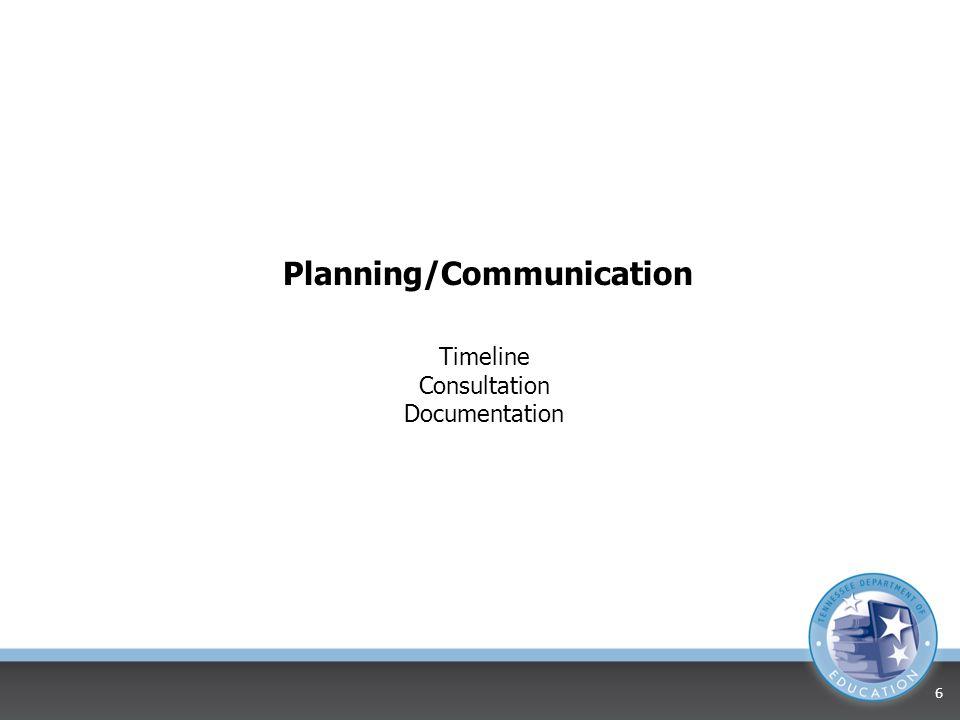 Planning/Communication Timeline Consultation Documentation 6