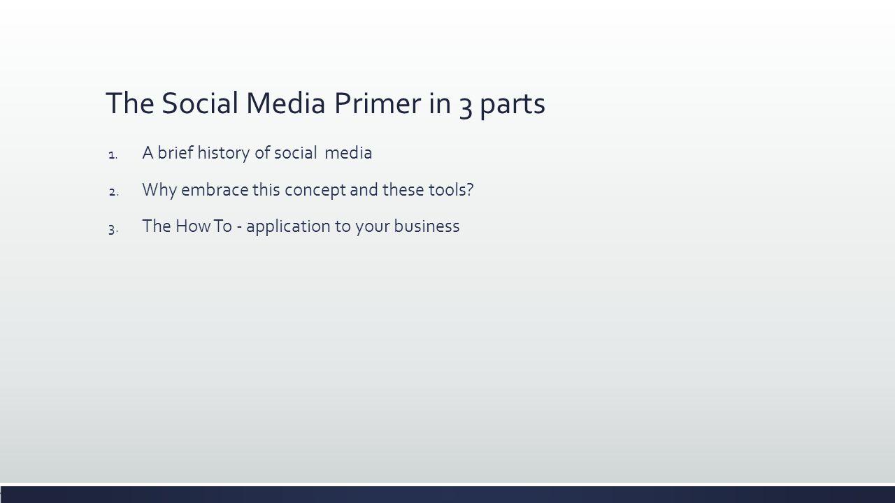 The Social Media Primer in 3 parts 1. A brief history of social media 2.