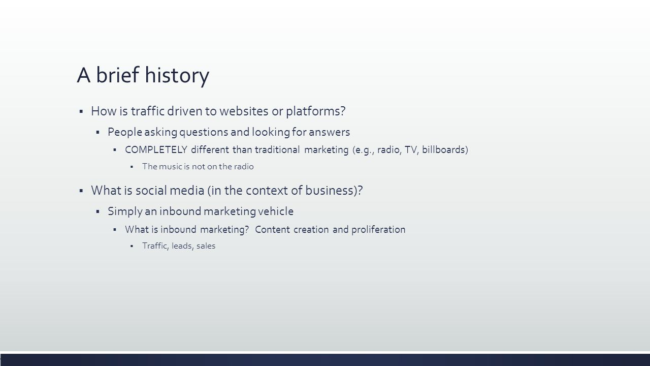 A brief history  How is traffic driven to websites or platforms.