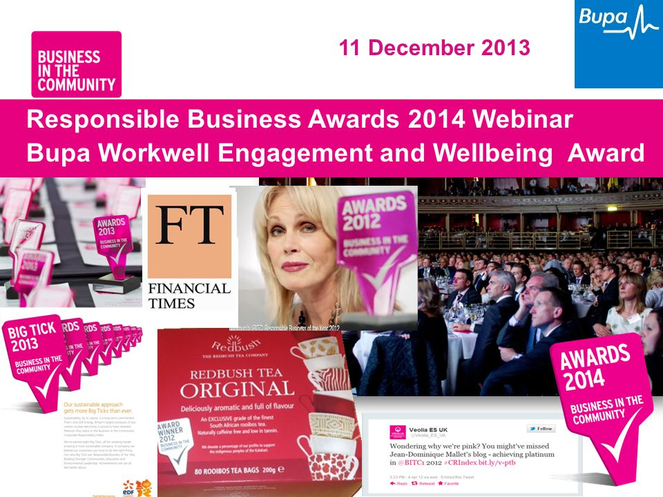 www.bitc.org.uk 1 Responsible Business Awards 2014 Webinar Bupa Workwell Engagement and Wellbeing Award 11 December 2013
