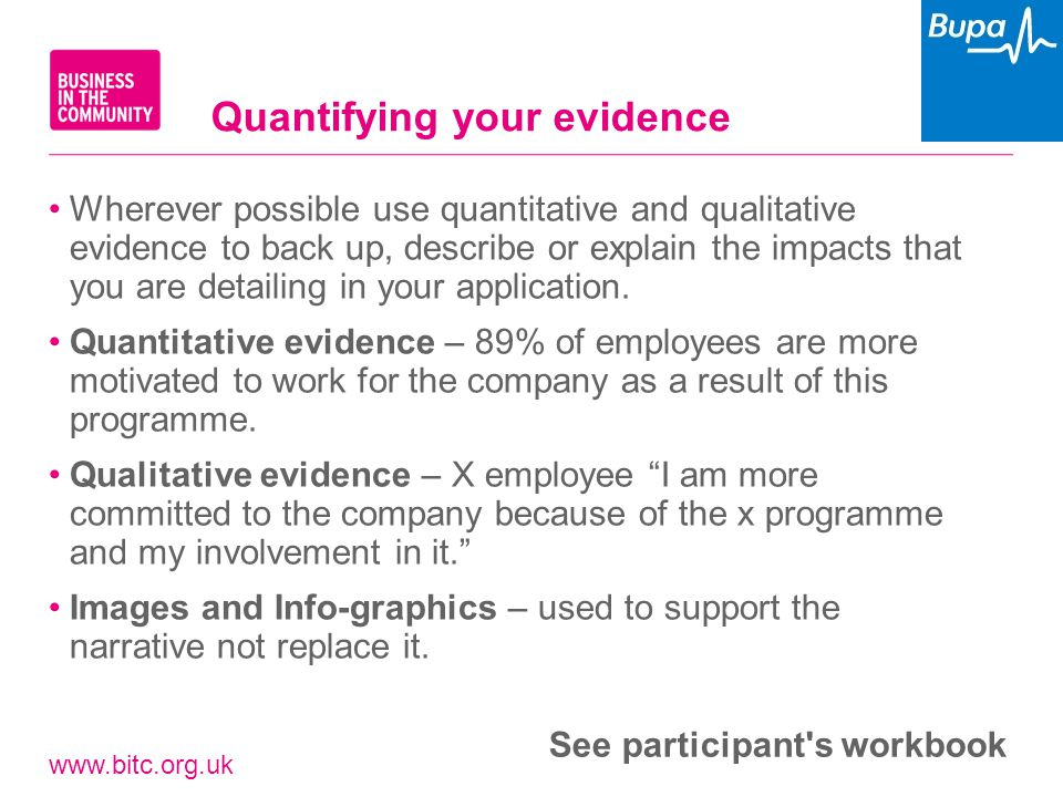 www.bitc.org.uk Wherever possible use quantitative and qualitative evidence to back up, describe or explain the impacts that you are detailing in your