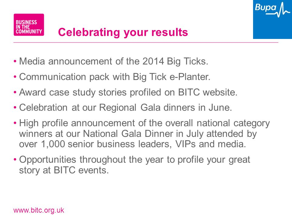 www.bitc.org.uk Media announcement of the 2014 Big Ticks. Communication pack with Big Tick e-Planter. Award case study stories profiled on BITC websit