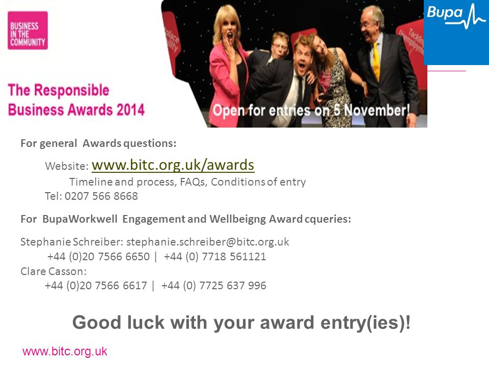 www.bitc.org.uk Good luck with your award entry(ies)! For general Awards questions: Website: www.bitc.org.uk/awards www.bitc.org.uk/awards Timeline an