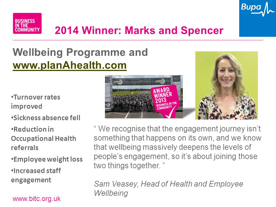 "www.bitc.org.uk Wellbeing Programme and www.planAhealth.com www.planAhealth.com "" We recognise that the engagement journey isn't something that happen"