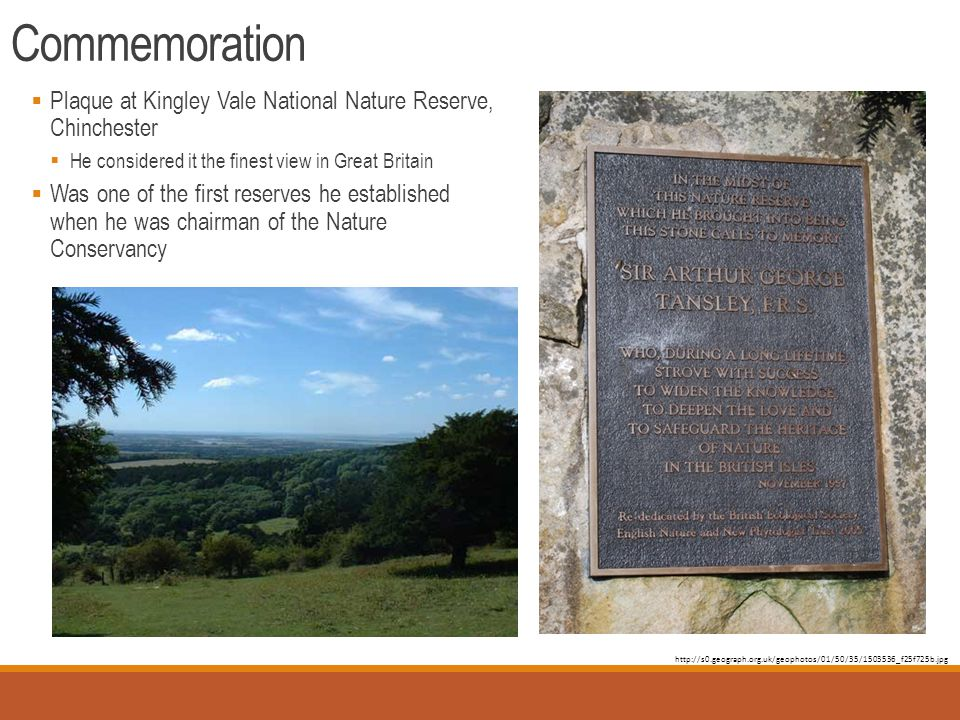 Commemoration  Plaque at Kingley Vale National Nature Reserve, Chinchester  He considered it the finest view in Great Britain  Was one of the first reserves he established when he was chairman of the Nature Conservancy http://s0.geograph.org.uk/geophotos/01/50/35/1503536_f25f725b.jpg