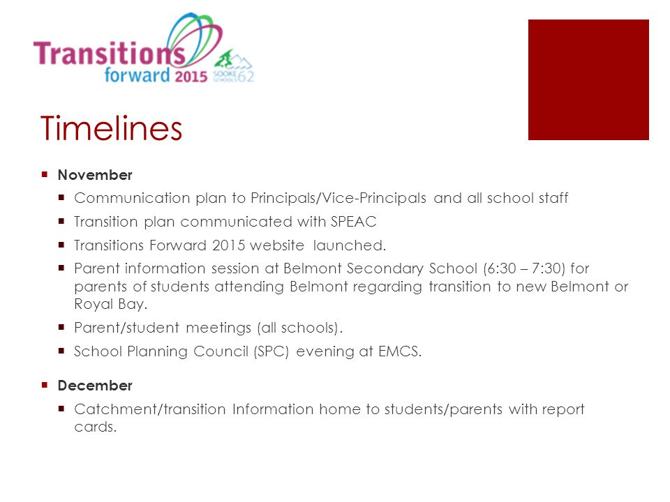 Timelines  November  Communication plan to Principals/Vice-Principals and all school staff  Transition plan communicated with SPEAC  Transitions F