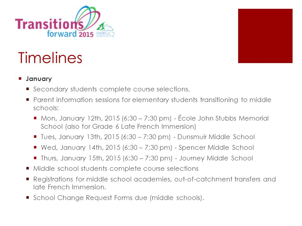 Timelines  January  Secondary students complete course selections.  Parent information sessions for elementary students transitioning to middle sch
