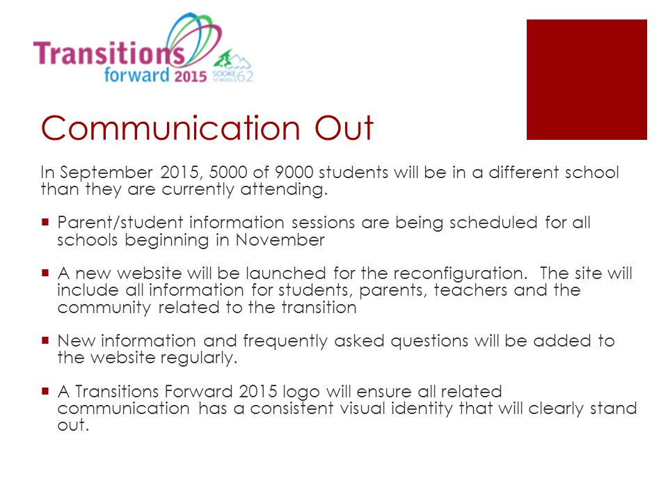 Communication Out In September 2015, 5000 of 9000 students will be in a different school than they are currently attending.