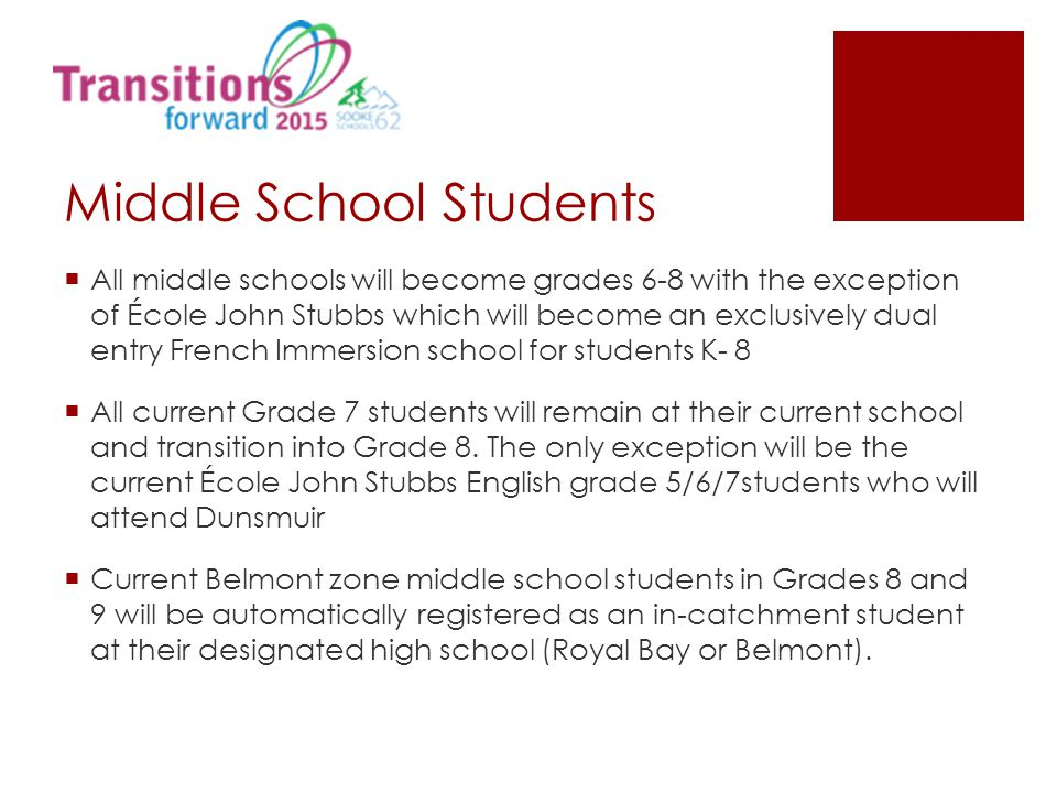 Middle School Students  All middle schools will become grades 6-8 with the exception of École John Stubbs which will become an exclusively dual entry French Immersion school for students K- 8  All current Grade 7 students will remain at their current school and transition into Grade 8.