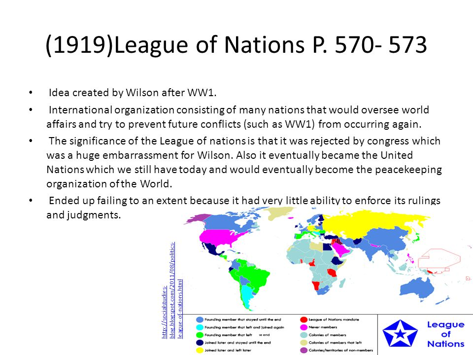 (1919)League of Nations P.570- 573 Idea created by Wilson after WW1.