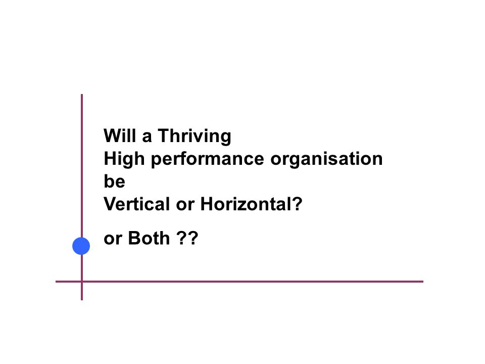 Will a Thriving High performance organisation be Vertical or Horizontal or Both